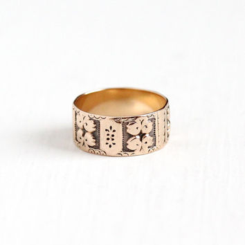 Antique Victorian 10k Rose Gold Ring Band - Size 6 Vintage Late 1800s Thick Cigar Style Fine Wedding Eternity Leaf Flower Floral Jewelry