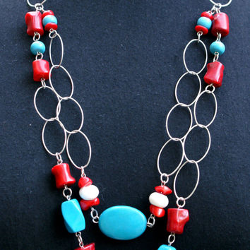 Handmade Sterling Silver Long Necklace with Turquoise howlite, white corals and bamboo corals