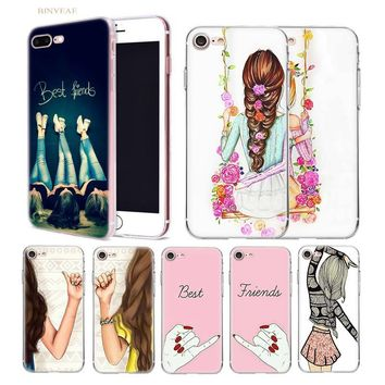 BINYEAE Girl Best friends together Transparent soft shell TPU case cover for iphone 5 5SE 5C 6 6S 7 7S 8 Plus X 10