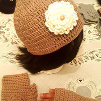 "L/XL Tan and White ""Handmade"" Crochet Beanie Set. Ready to Ship"