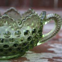 Vintage Fenton Glass Colonial Green, Olive Hobnail Candy Bowl, Serving Dish with Scalloped Edges