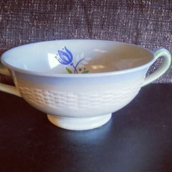 Vintage Minton Chinese Caledon Soup Bowl Circa 1900's Hand Painted Blue Tulip Design