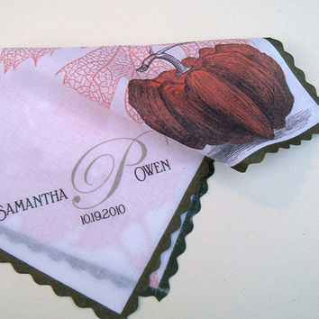 Personalized wedding handkerchief with pumpkin, monogram for bride, mother of bride or groom
