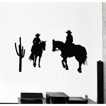 Vinyl Wall Decal Cowboys Western Cactus Texas Wild West Boys Room Stickers Mural (g861)