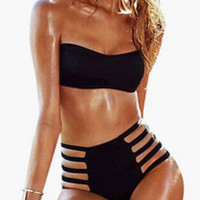 Black Bandeau Strappy High Waisted Swimsuit