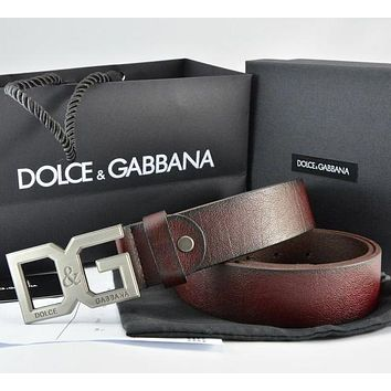 Dolce  Gabbana  Men Fashion Smooth Buckle Belt Leather Belt