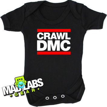 Crawl DMC hip hop inspired rap b-boy b-girl first cute funny baby one piece music tv show gus jumper Bodysuit Creeper Dirty DJ B-35