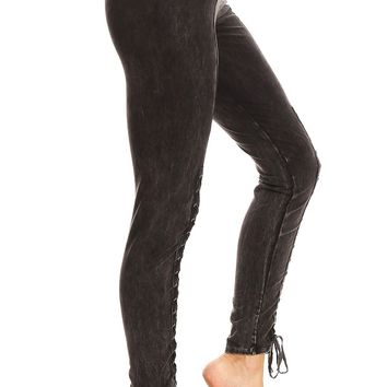 Mineral Wash Front Lace Up Detail Leggings