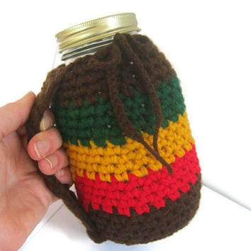 Rasta Crocheted Mug Holder with Handle. Red Gold Green and Brown,Reduce your Impact Mason and Kerr Quart Size Jar