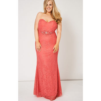 Shop Coral Lace Prom Dress on Wanelo