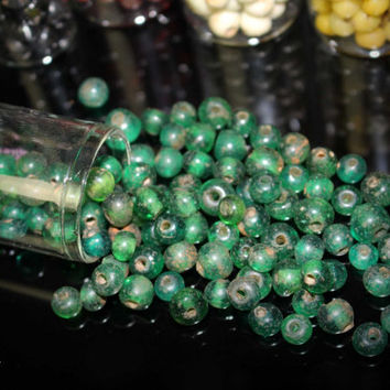 Antique Borneo Glass Trade Beads / 100pcs Of One Single Color Beads ( 6-8mm x 4-8mm ) Jewelry Making Supplies