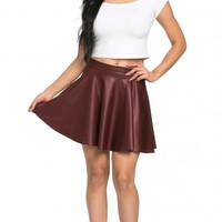 High Waisted Faux Leather Skater Skirt in Burgundy