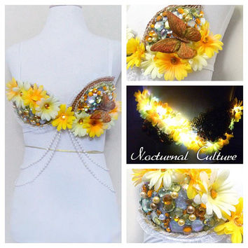 Yellow Daisy Rave Bra