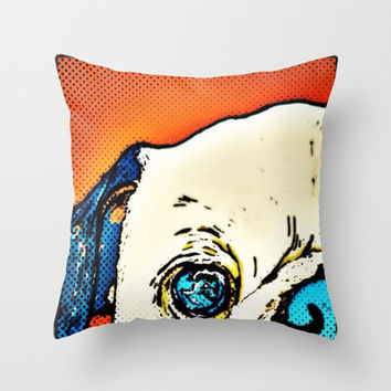 Zombie pug Throw Pillow by Cartoon Your Memories