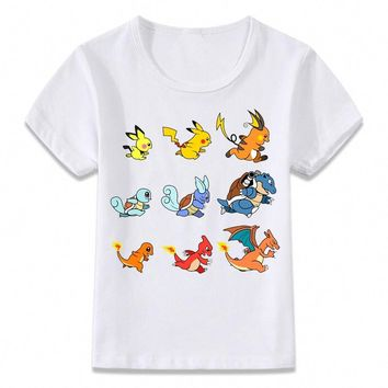Kids Clothes T Shirt   Evolution Pikachu Charizard Squirtle Children T-shirt for Boys and Girls Toddler Shirts TeeKawaii Pokemon go  AT_89_9
