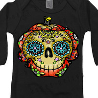 Baby Halloween 0 3 6 12 18 months Long Sleeve Black Clothes. Pumpkin Tattoo Day of the Dead bodysuit. Dia de los muertos ropa de bebe Skull