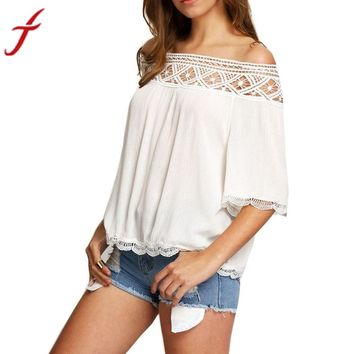 Lace Off Shoulder Casual Short Sleeve Shirt