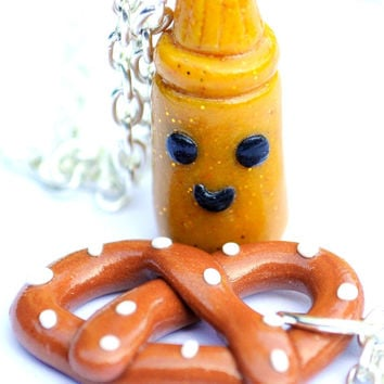 Kawaii Miniature Pretzel and Mustard Best by PumpkinPyeBoutique