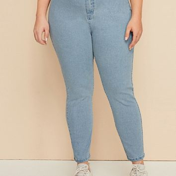 Plus Bleach Wash Skinny Jeans