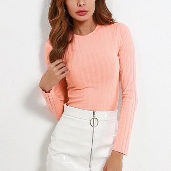 A| Chicloth 2018 Fashion Women Crew Long Sleeve Casual Tops Clothing