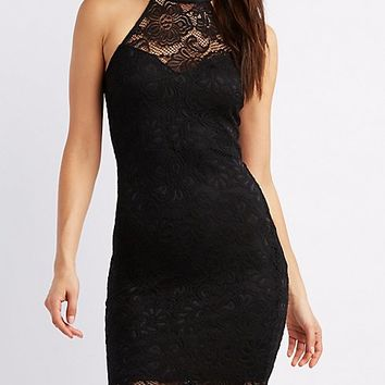 Lace Caged Back Bodycon Dress | Charlotte Russe