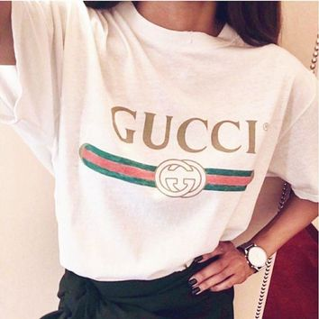 """Gucci""Hot letters print T-shirt top H Z"