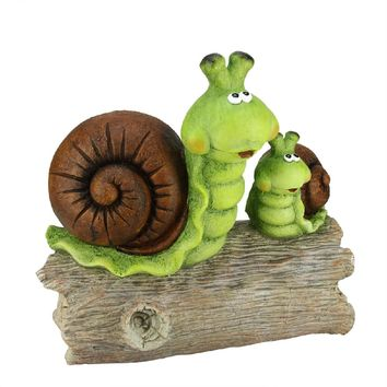"""15.25"""" Green and Brown Snails on a Stump Spring Outdoor Patio Garden Statue"""