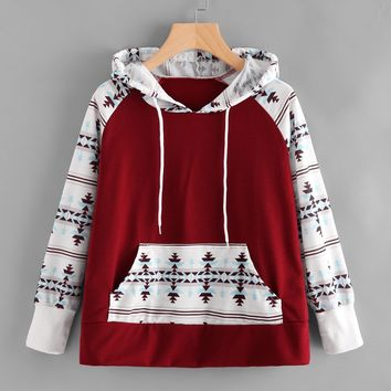Hoodies Tops Winter Print Patchwork With Pocket Hats [11359551623]