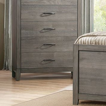 Roomy 5 Drawer Wooden Chest With Metal Handles, Weathered Gray