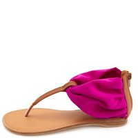 Chiffon Ankle Cuff Thong Sandals by Charlotte Russe - Magenta