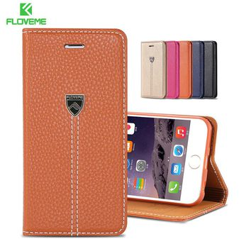 FLOVEME Supreme Luxury Retro Flip Leather Case For iPhone 6 6 Plus Nobility Stand Card