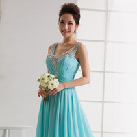 Aliexpress.com : Buy Free Shipping In Stock Elegant Turquoise V neck See Through Back Sequined Chiffon Long Formal Evening Dress 2015 from Reliable dresses prom dress suppliers on Maria's Bridal Wedding Dress Co.,Ltd.