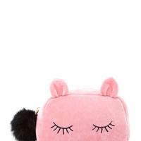 Sleeping Cat Velvet Makeup Bag