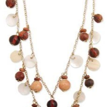 """Double Strand Dangled Amber-colored Glass, Shell & Wood Beaded Layered Necklace, 16"""" + 2"""" Extender"""