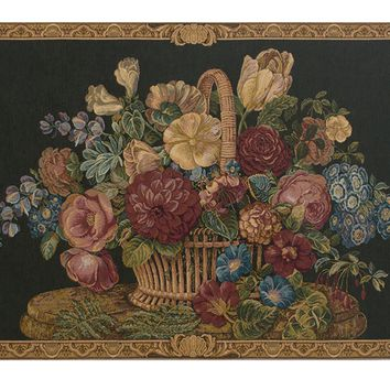 Flower Basket Black II Tapestry Wall Art Hanging
