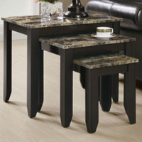 Three-Piece Nesting Tables Marble Tops Living Room Furniture Cappuccino Finish