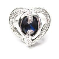 Sterling Silver Blue Sapphire Heart Ring Size 7