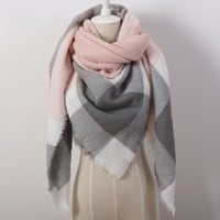 Cashmere Triangle Plaid Blanket Scarf