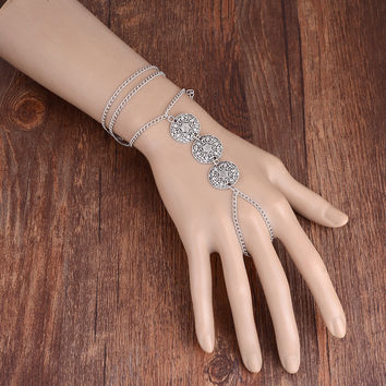 imixlot new bohemia charm woman vintage simple silver slave chain hamsa harness bracelet bangle women hand jewelry