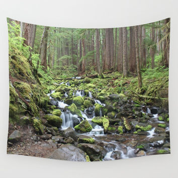 Forest Waterfall Creek Wall Tapestry by BravuraMedia