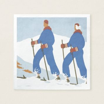 TOP Skiing Paper Dinner Napkin