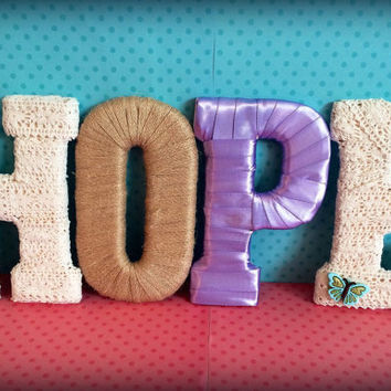 """Custom Made Decorative Letter Set """"HOPE"""" by Tightly Wound Designs"""