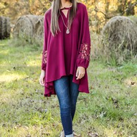 Slow & Steady Wins The Lace Tunic Dress-Wine