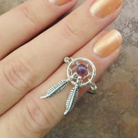 Amethyst Purple Dream Catcher Ring with Feathers