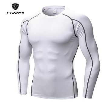 2018 New Design Men T Shirt Compression Brand Summer Quick Dry Slim Fit O-Neck Long Sleeve T-shirt Homme Male O-Neck Shirt