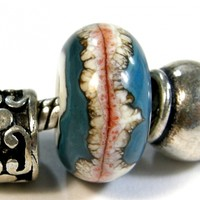 Southwest Large Hole Bead Ivory With Dark Sky Blue and Coral Bands lhb276228420swb Handmade Lampwork Glass Bead, Slider Bracelet Bead (Choices of Etched or Shiny)