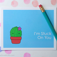 Cactus Love Card For Girlfriend Boyfriend Wife Husband Pun Fun Funny Romantic Cute Anniversary Birthday Her Him Handmade Greeting Cards Gift