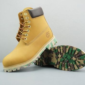 Timberland Leather Lace-Up Boot High Yellow Dark Brown Camo Sole