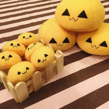 jackolantern mochi plushie, dango plush, anime food plush, kawaii food, orange mochi, pumpkin dango, japanese food, anime toy, dessert