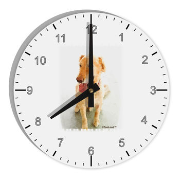"Golden Retriever Watercolor 8"" Round Wall Clock with Numbers"